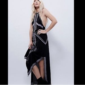 Rare free people embroidered halter backless dress